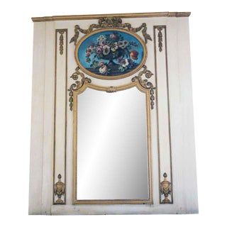 Waldorf White Overmantel Mirror With Floral Details For Sale