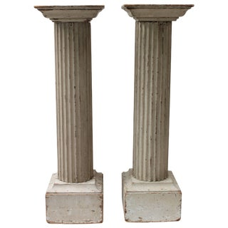 Pair of Large 19th Century Painted Doric Columns For Sale