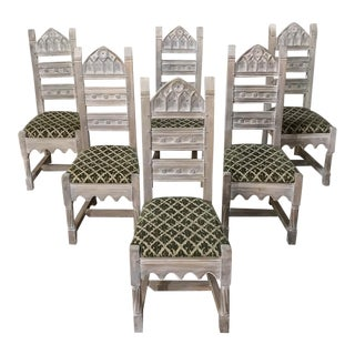 Set of 6 Antique Rustic Gothic Stripped Dining Chairs For Sale