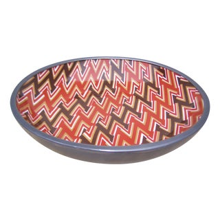 1970s Neiman Marcus Chevron Print Ashtray For Sale