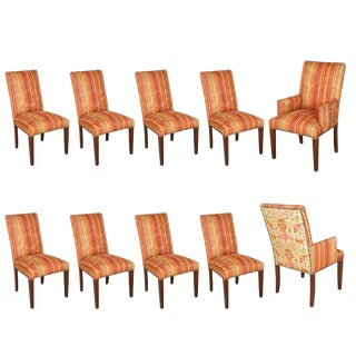 Moroccan Bohemian Style Set of Ten Dining Chairs For Sale