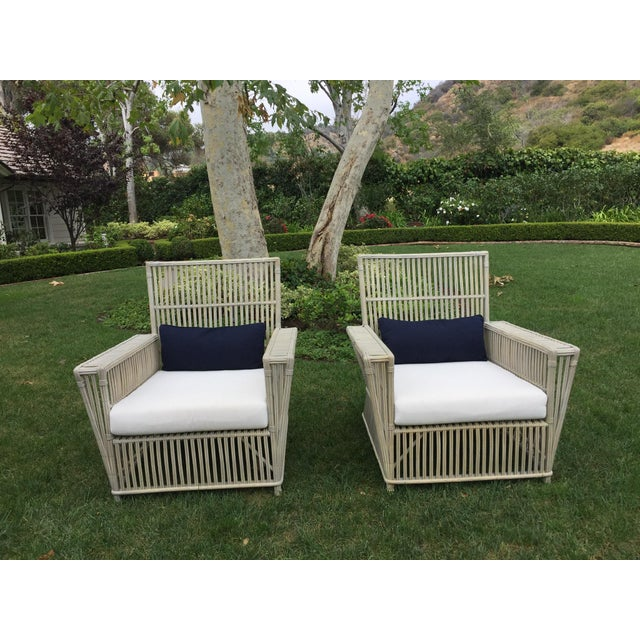 Antique White Wicker Chairs - a Pair - Image 2 of 5