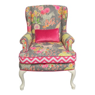 Petite Wing Chair With Animal Motif + Hot Pink Velvet For Sale