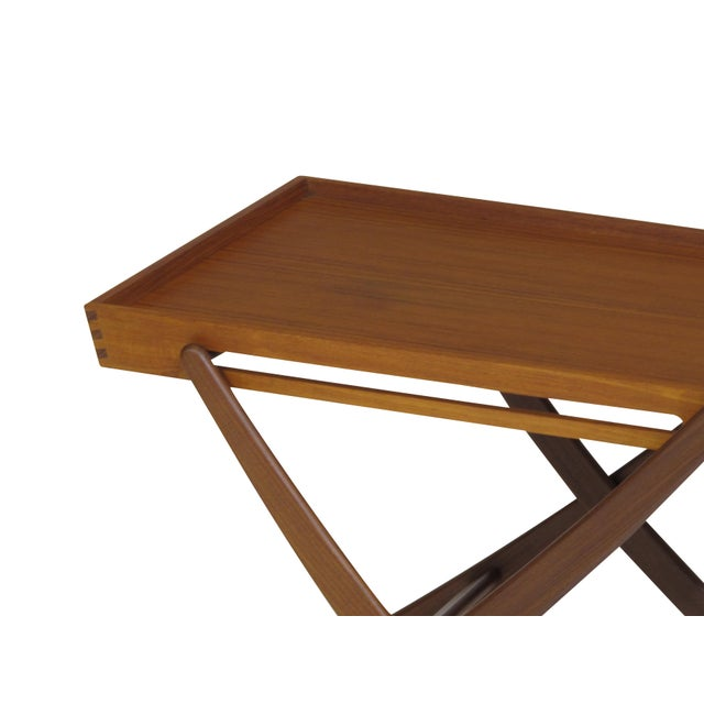 Mid-Century Modern Danish Teak Folding Bar Cart For Sale - Image 3 of 8
