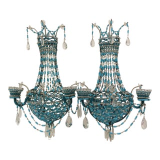 Stunning Fine Blue Beaded Sconces - A Pair For Sale
