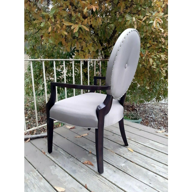 Contemporary Bernhardt Jet Set Center Button Tufting Arm Chairs - Set of 4 For Sale - Image 3 of 13