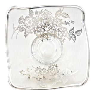 Silver Overlay Floral Glass Bowl For Sale
