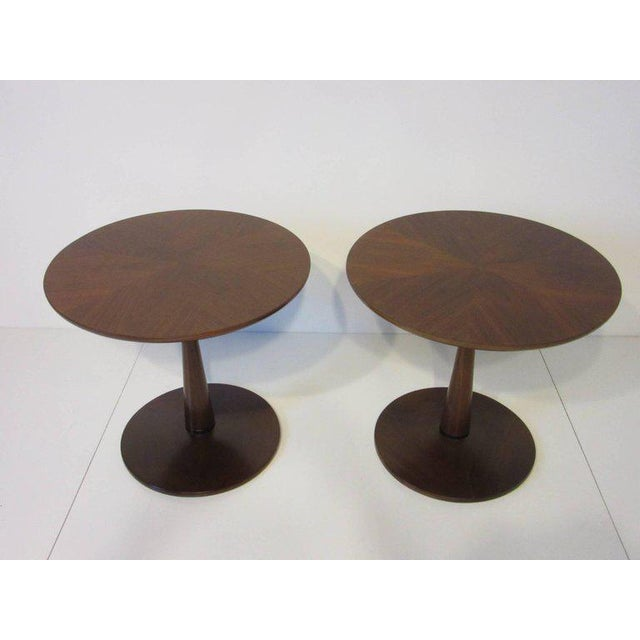 1950s Kipp Stewart for Drexel Declaration Walnut Pedestal Side Tables For Sale - Image 5 of 7