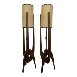 Adrian Pearsall for Modeline Walnut Rocket Lamps - a Pair For Sale