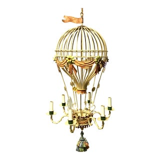 Vintage Hot Air Balloon Tole Chandelier For Sale