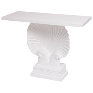Hollywood Regency Art Deco Style White Lacquered Shell Console Table For Sale