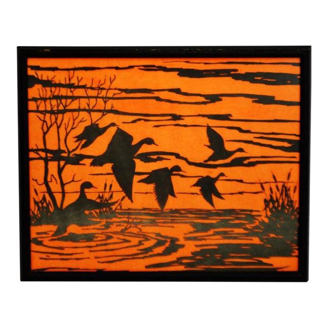 Vintage Orange Water Fowl Artwork - Image 1 of 10