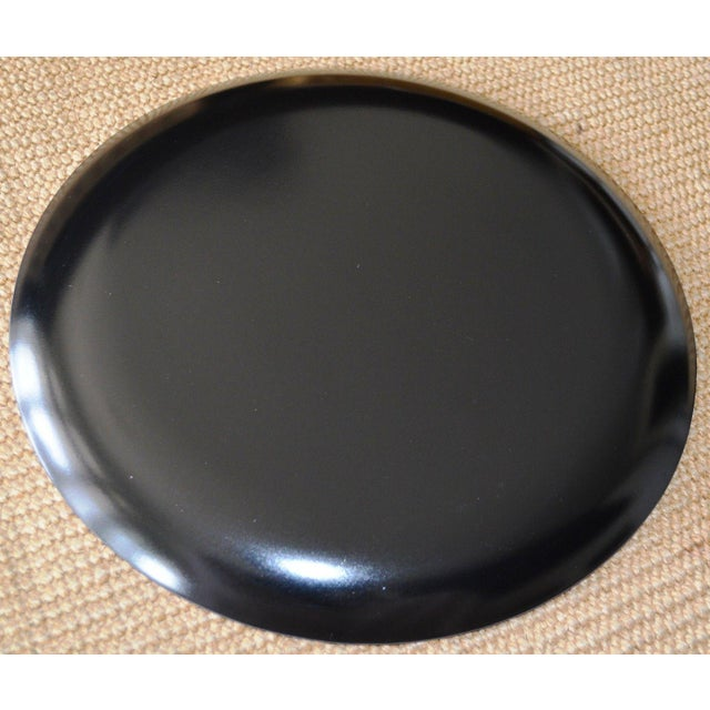Japanese Gold Foil Lacquer Charger Plates Black - A Pair Set of Two (2) - Image 3 of 6