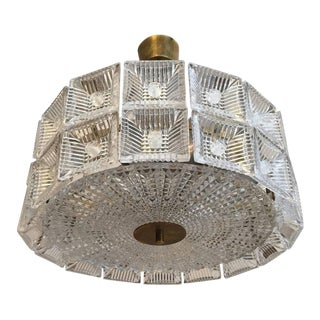 Orrefors Carl Fagerlund 1960s Crystal Flush Chandelier Pendant For Sale