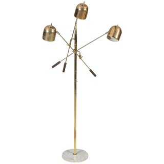 20th Century Italian Three Headed Brass and Marble Floor Lamp For Sale
