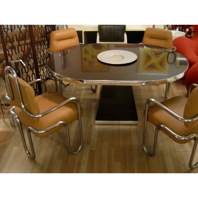 1970s Mid-Century Modern Pierre Cardin Chocolate Brown Dining Table For Sale - Image 10 of 12