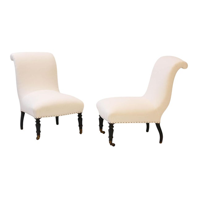 Napoleon III Slipper Chairs- A Pair For Sale
