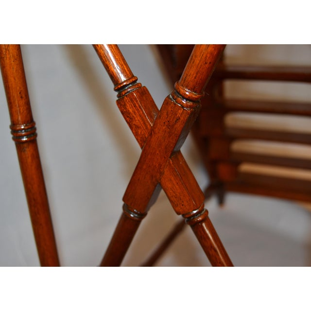 Metal Architectural Decorative Victorian Walnut & Brass Library Steps, Ladder, Stairs For Sale - Image 7 of 13