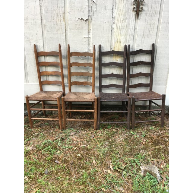 Mismatched Ladder Back Country Chairs - Set of 4 For Sale - Image 12 of 12