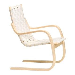 Armchair 406 in Birch and Natural Linen by Alvar Aalto & Artek For Sale