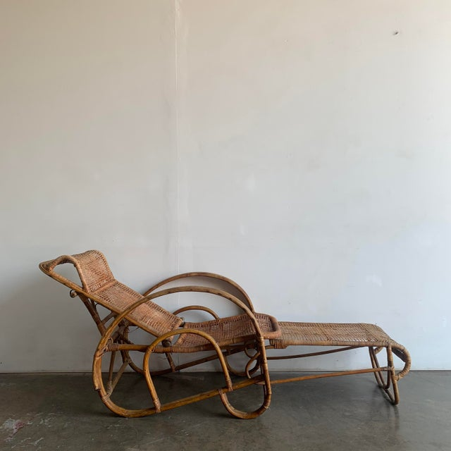 1940s Woven Cane Lounge Chair with Pull Out Foot Rest For Sale - Image 5 of 13