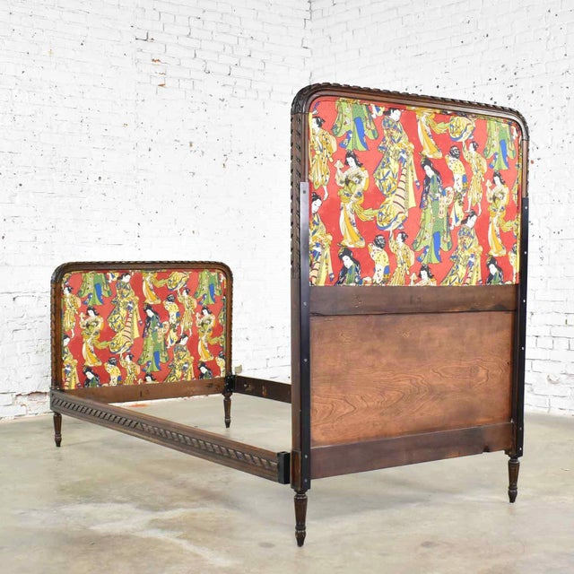 Red Antique French Carved Walnut and Upholstered Twin Bed With Asian Figural Fabric For Sale - Image 8 of 13