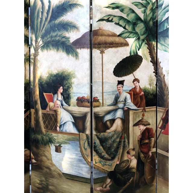 Red Maitland Smith Hand-Painted 4-Panel Asian Motif Royal Court Screen For Sale - Image 8 of 10