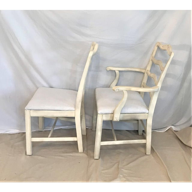 1920s Provençale Antique White Ladder Back Dining Chairs – Set of 8 For Sale - Image 6 of 9