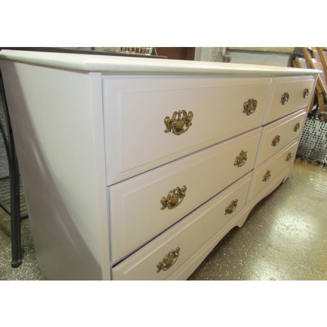 Painted White and Brass 6-Drawer Dresser - Image 3 of 6