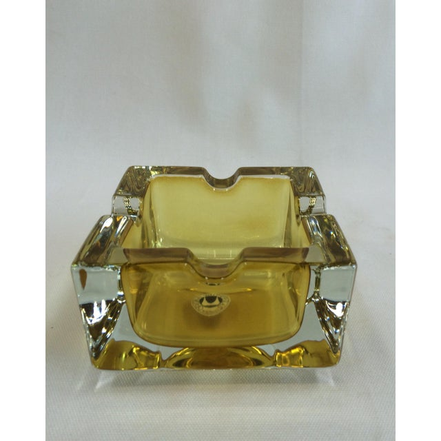 Vintage West German Yellow Art Glass Ashtray - Image 2 of 6