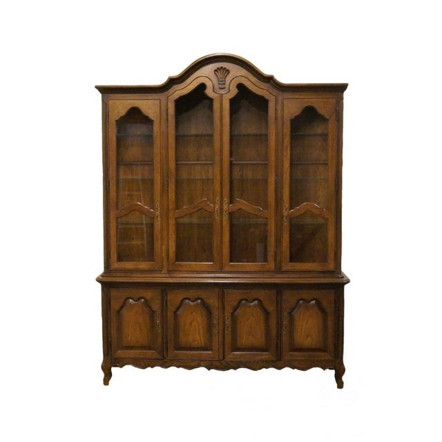 20th Century French Lighted Breakfront China Cabinet For Sale - Image 12 of 12