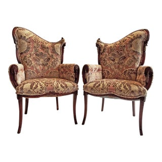 Grosfeld House Velvet Upholstered Chairs - a Pair