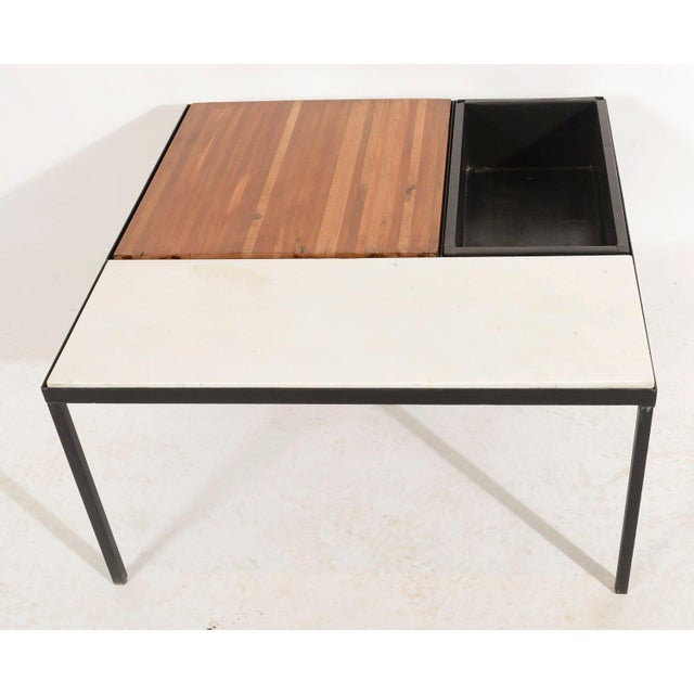 Marble Top Coffee Table could be used indoors or out table with a removable planter box. Wood butcher block panel, marble...