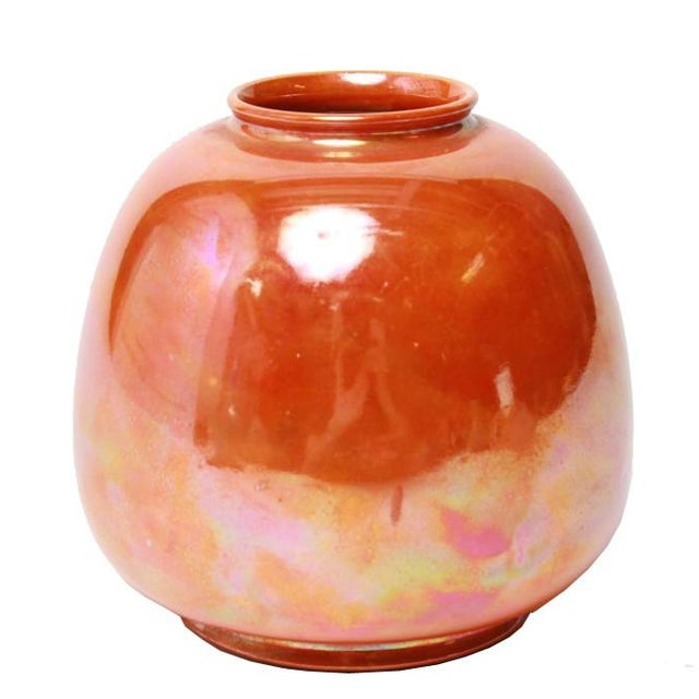 Ruskin English Orange Lustre Pottery Vase For Sale - Image 4 of 4