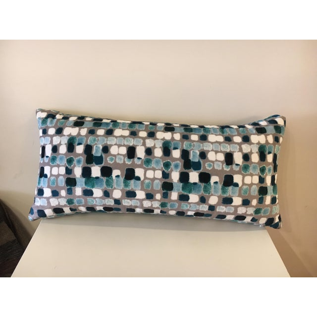 "Dominique Kieffer ""Maquillage, Caraibi Gris"" Fabric Lumbar Pillow For Sale - Image 4 of 4"