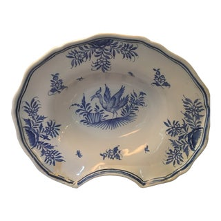 Late 19th C French Malicorne Faience Barber Bowl by Emile Tessier For Sale