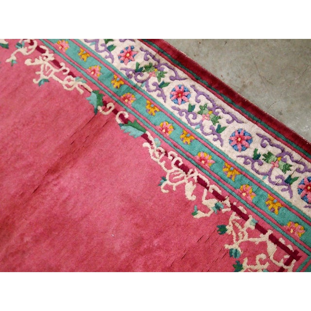 Textile 1930s Handmade Antique Art Deco Chinese Rug 2.10' X 5.10' For Sale - Image 7 of 9