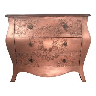 Copper 3 Drawer Bombe Chest For Sale