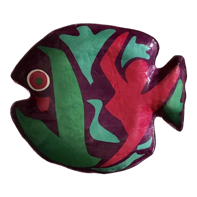Purple and Green Papier Mache Green and Red Fish Plate For Sale