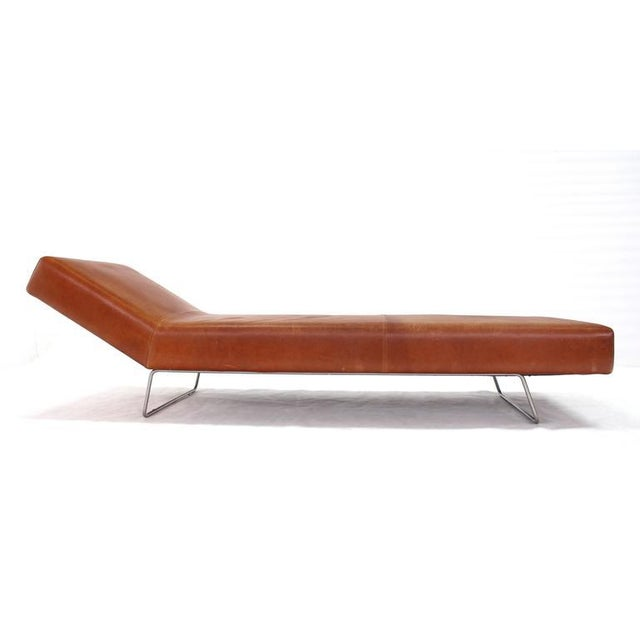 Vintage Mid Century Brown Leather Chaise Lounge Daybed