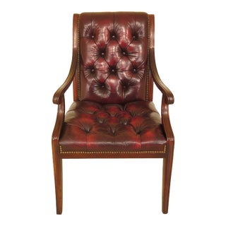 Hickory Chair Co. Tufted Leather Mahogany Armchair For Sale