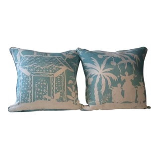 Asian Inspired Down Pillows - a Pair