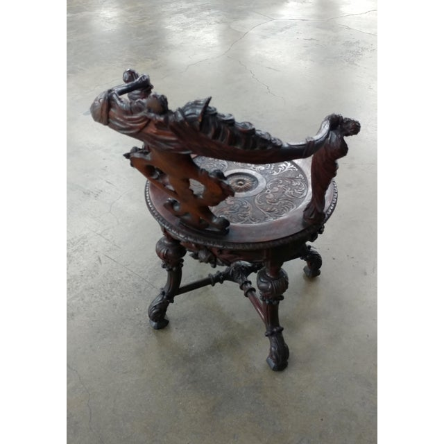 18th century Italian Renaissance round back Arm Chair w/carved reclining figures - Image 8 of 10