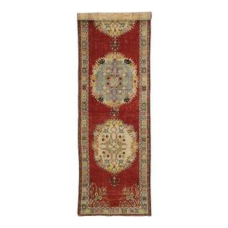 Vintage Turkish Oushak Hallway Runner - 03'05 X 13'00 For Sale