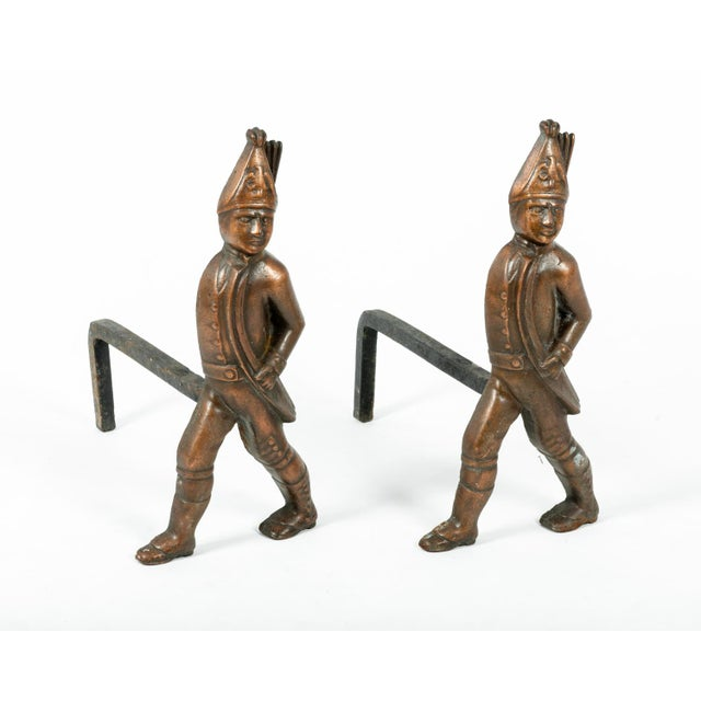 Metal Pair of Hessian Soldier Figural Andirons For Sale - Image 7 of 7