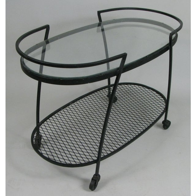 Woodard Furniture Co. Oval Wrought Iron 'Pinecrest' 1950s Bar Cart by Woodard For Sale - Image 4 of 8