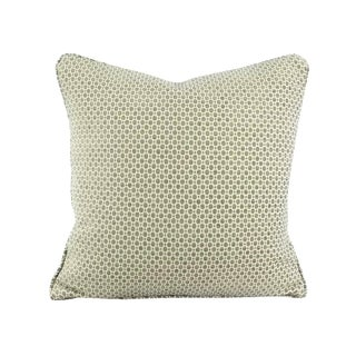 """Gray Aqua Geometric Chenille Pattern With Self-Welt Pillow Cover - 20"""" X 20"""" For Sale"""