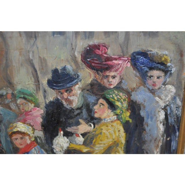 Impressionist European Market Scene Oil Painting - Image 5 of 9