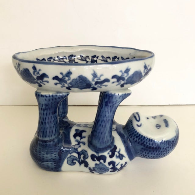 White Vintage Blue and White Ceramic Monkey Dish For Sale - Image 8 of 8