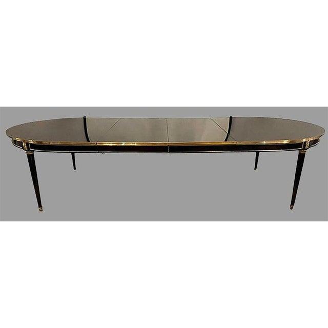 Metal Maison Jansen Ebony Dining Table, Louis XVI Style W Bronze Mounts & Three Leaves For Sale - Image 7 of 13